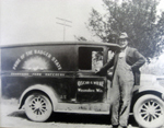 Oscar Wilke & the first delivery truck, around 1920s